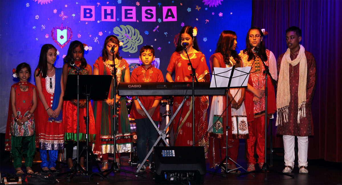Group music performance on Bengali New Year